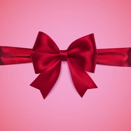 Decorative red bow with horizontal ribbon. Illustration