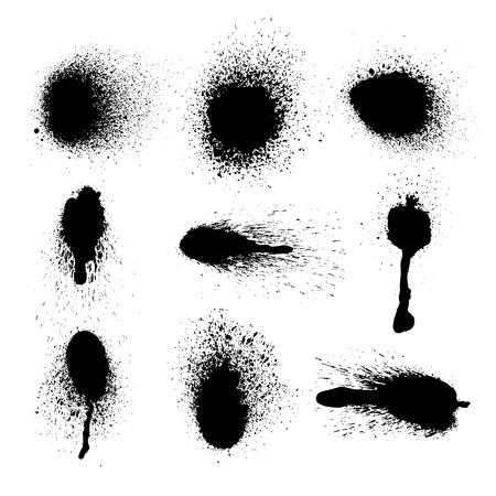Vector set of ink splashes on white background