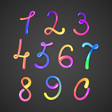 Illustration of colorful numbers on dark background.