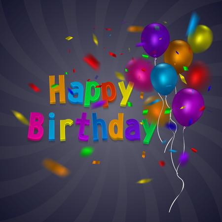 다채로운 풍선 및 콘 페티 생일 카드입니다.