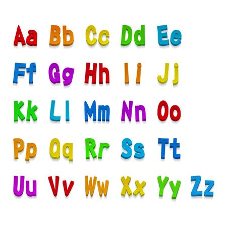 Multicolored  3d alphabet fonts. Illustration