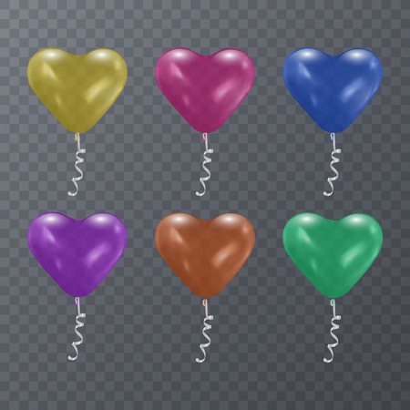 Colorful festive balloons of shape of heart on transparent background. Vector illustration EPS 10
