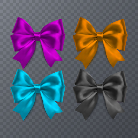 Set of realistic bow on transparent background. Vector eps 10