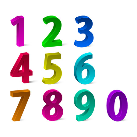 Set of 3d colorful numbers for your advertising and web design. Vector illustration