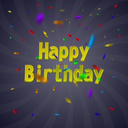 어두운 배경에 화려한 색종이와 생일 카드.