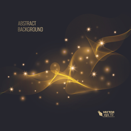 Magic glowing effect on dark background for your design, abstract effect. Vector eps 10
