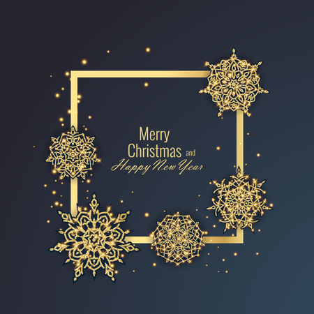 Merry Christmas and Happy New Year 2018 greeting card, vector illustration