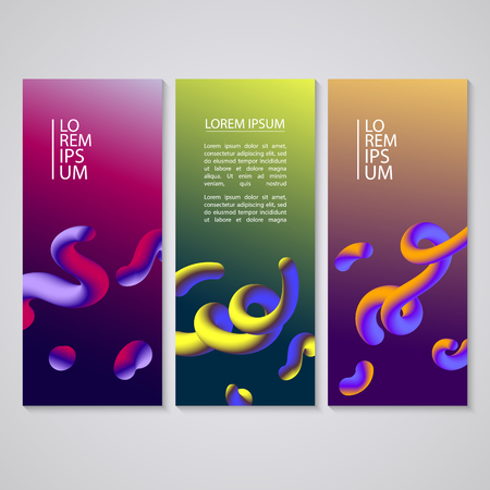 Banner set with abstract dynamic background design. Fluid colors on colorful gradient background. Eps10 vector illustration.