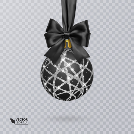 Black, Christmas ball decorated with a realistic black bow and a shiny, silver ornament. Vector illustration Illustration