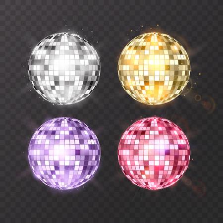 Bola de discoteca en el fondo aislado. Elemento de luz de fiesta Night Club. Diseño de bola de espejo brillante para discoteca club de baile. Vector eps 10