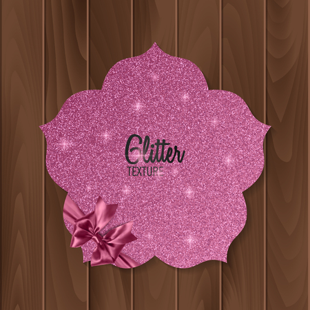 Pink, glitter background with realistic bow. greeting card. Vector illustration  イラスト・ベクター素材