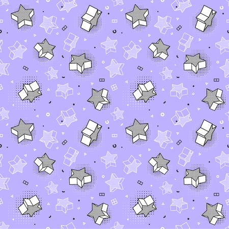 Vector seamless pattern, colorful pattern with 3d graphic elements. You can use this as a wallpaper in a childrens room. Eps 10