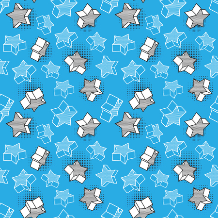 Vector seamless pattern, colorful pattern with 3d graphic elements. You can use this as a wallpaper in a children's room.