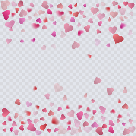 Heart confetti on transparent background, decoration for your valentine s day greeting cards. Vector illustration Illustration