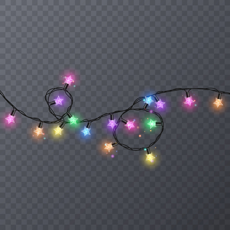 Set of colorful garlands with shape of stars. Holiday decoration garland, vector illustration for your decoration. Vettoriali