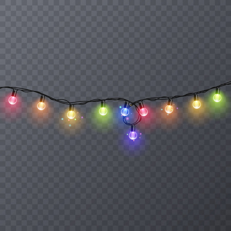 Conjunto de guirnaldas de colores, decoraciones festivas. Luces de la Navidad que brillan intensamente aisladas en fondo transparente. Ilustración vectorial
