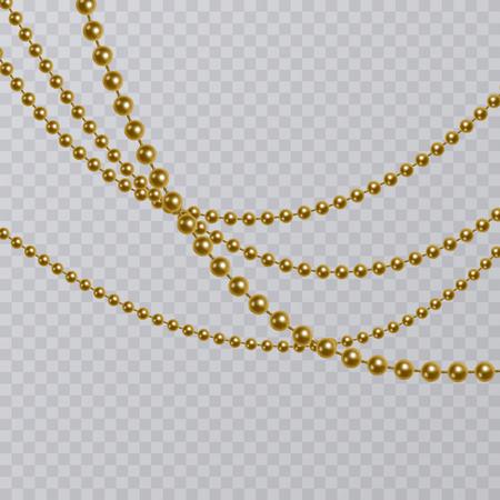 Realistic golden pearl on transparent background, golden beads, vector illustration.