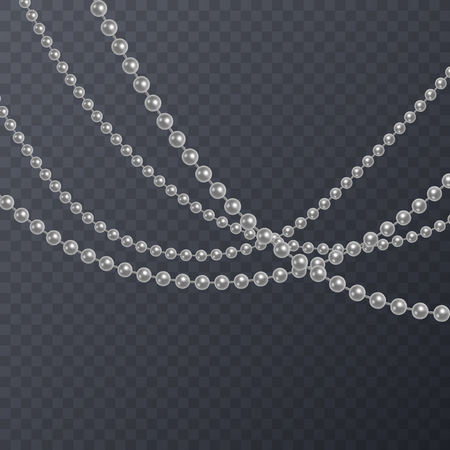 Realistic white pearl on transparent background, white beads, vector illustration.