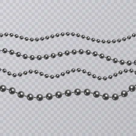 Realistic black pearl on transparent background, black beads, vector illustration.