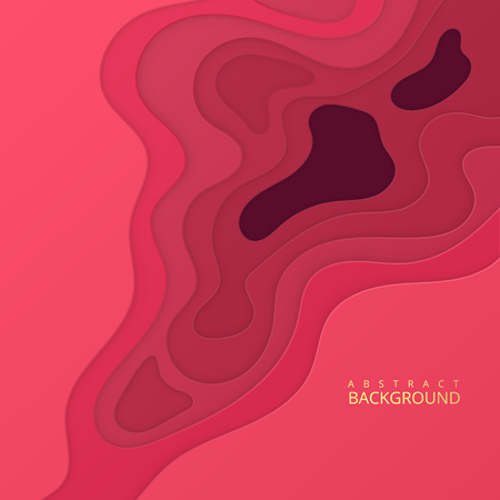 Abstract realistic paper cut design with wavy layers, Paper cut background. Cover for your design. 向量圖像