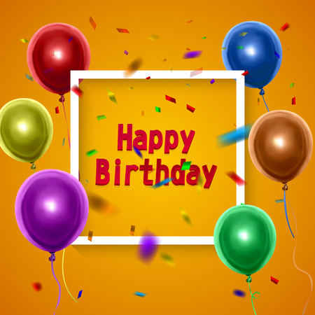 Happy Birthday card with colorful balloons on orange background.Vector eps 10 illustration Stock Illustratie