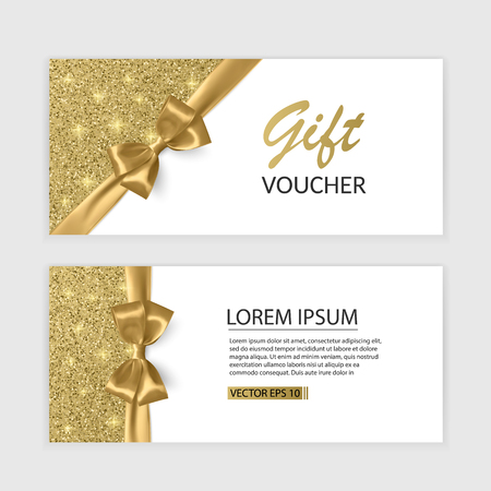 Set of Gift Voucher Card Template, Advertising or Sale. template with glitter texture and realistic bow illustration Banco de Imagens - 95956589