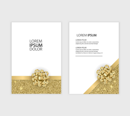 Set of Gift Voucher Card Template, Advertising or Sale. template with glitter texture and realistic bow illustration Standard-Bild - 95956598