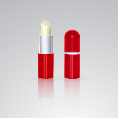 Colorless hygienic lipstick in a white plastic tube. Vector illustration on white background