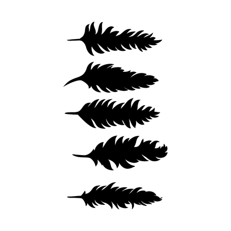 Brushes in the form of black feathers, vector illustration.
