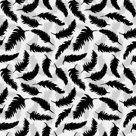 Black feathers seamless background pattern vector illustration.