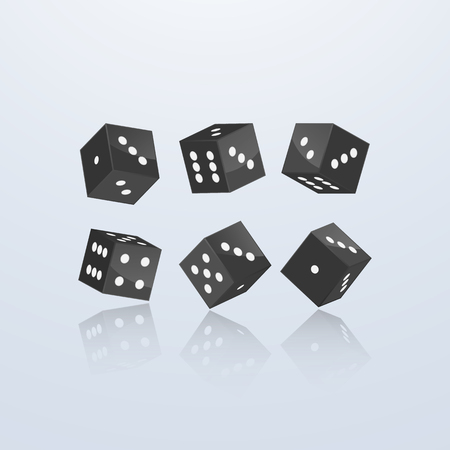 Dice of black color in different perspective on a light background. 3d vector illustration