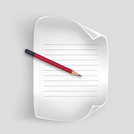 Foglio di carta bianco con una matita realistica, foglio di carta per i record, illustrazione vettoriale