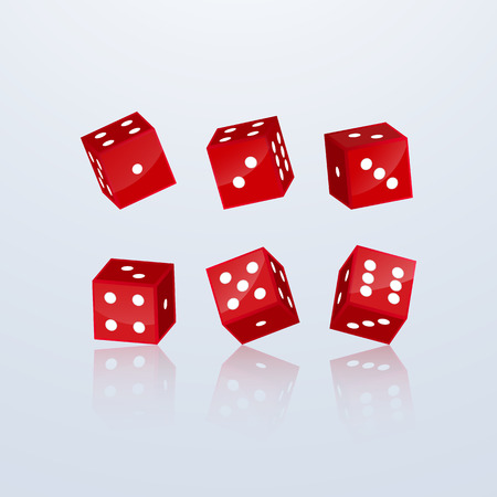 Dice of red color in different perspective on a light background. 3d vector illustration