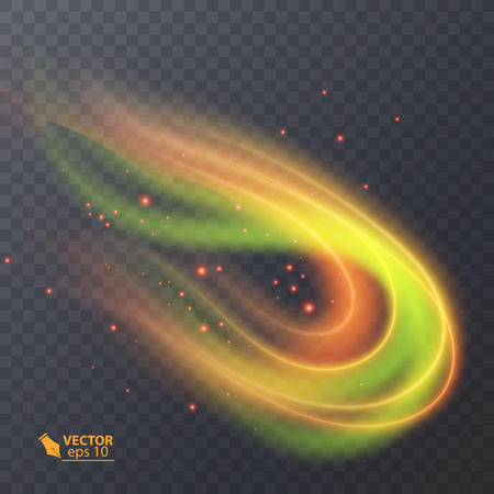 Colorful Light, neon effect. abstract particles. Vector Magic sparkle transparent neon effect on dark background Illustration