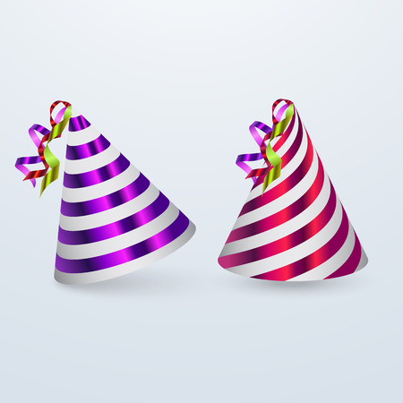 Birthday hat set. Party hat set isolated on a white. Vector fun decoration. Colorful surprise costume. Vector illustration on white background. Illustration