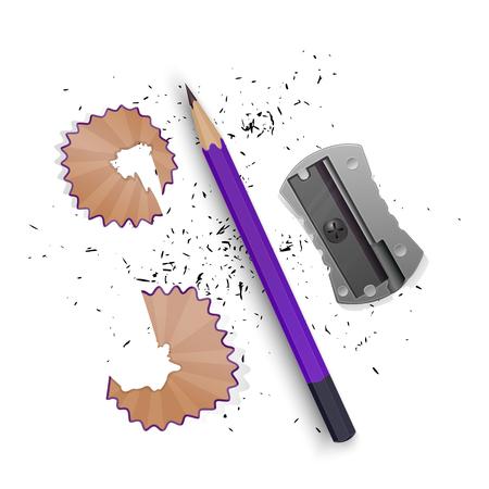 Ilustraciones vectoriales en estilo realista lápiz afilado un sacapuntas, virutas de lápiz y un grafito aislado sobre fondo blanco. Ilustración de vector