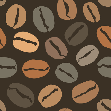 Seamless pattern with coffee beans, cover for your menu or banner. Vector eps 10 illustration Ilustração
