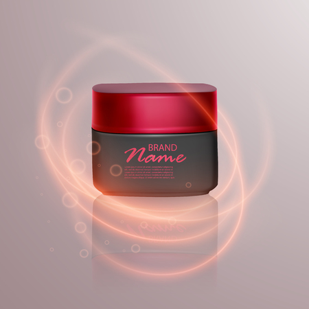 Luxury cosmetic template for ads, realistic 3d black matte cosmetic jar with lighting flare effect. Vector brand illustration