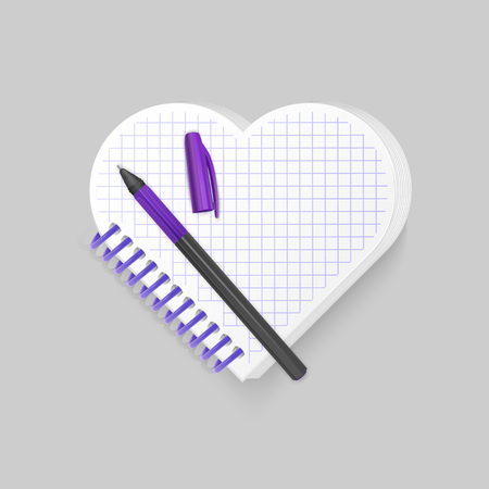Blank spiral notepad notebook with shape of heart on white background. Display Mock up for your entries, vector eps 10 illustration 矢量图像