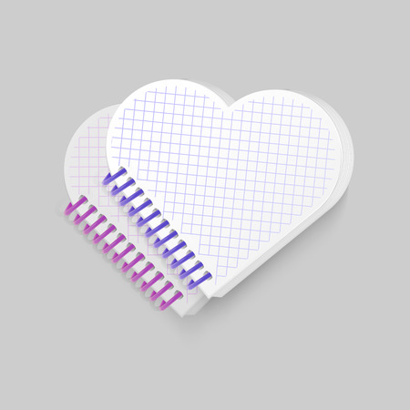 Blank spiral notepad notebook with shape of heart on white background. Display Mock up for your entries, vector eps 10 illustration Illustration