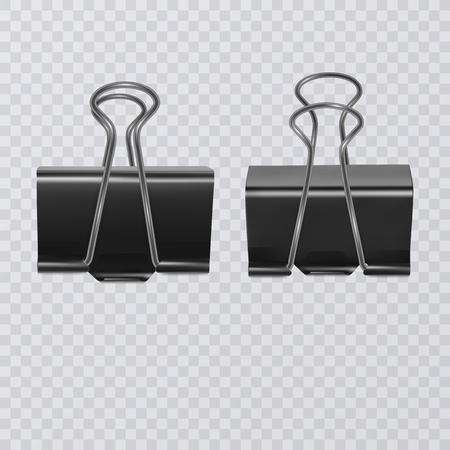 Set of realistic document clips isolated on white background  イラスト・ベクター素材