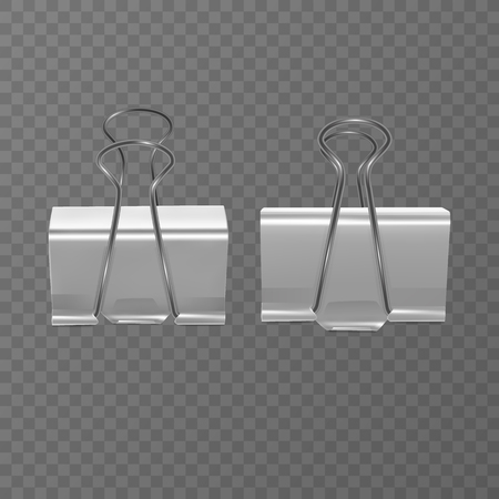 Set of realistic, white document clips isolated on transparent background