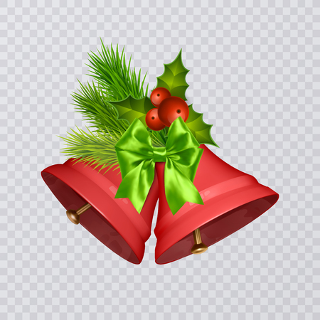 Set of vector red Christmas bells with realistic bows and holly, isolated on transparent background