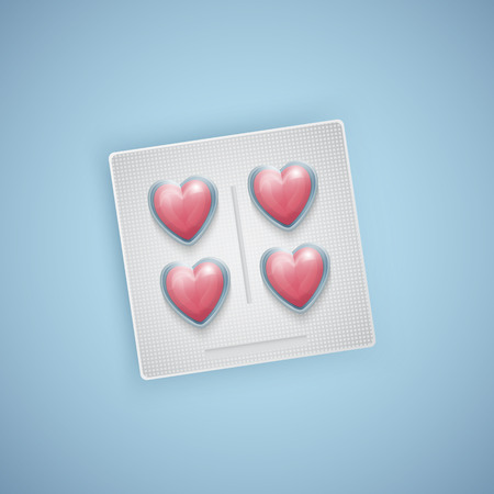 Heart shaped pills, heart care, medical supplies, realistic vector illustration Ilustracje wektorowe