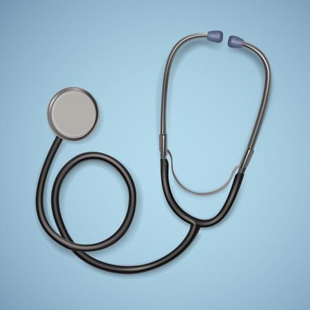 Stéthoscope médical réaliste. fond avec équipement médical stéthoscope, concept de soins de santé. Illustration vectorielle. Vecteurs