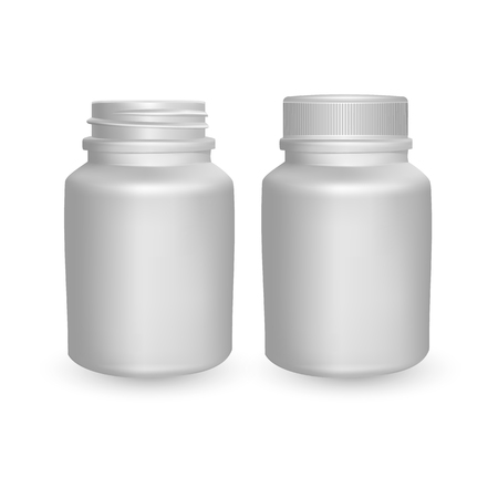 Realistic plastic bottle. Mock Up Template. Vector illustration, empty white bottle on light background