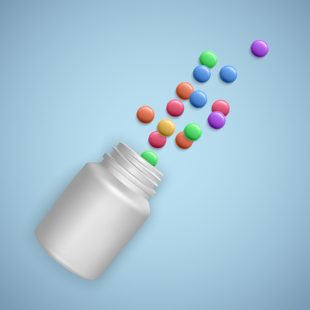 Realistic white bottle with Pills. Medical capsules container with capsules, tablets. 3d vector Illustration