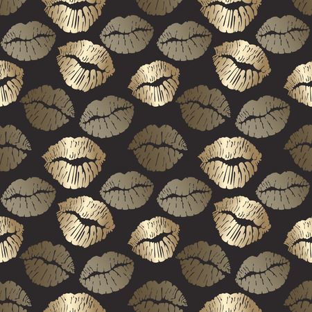 Seamless pattern with golden lips print, gold lips on black background. Vector illustration