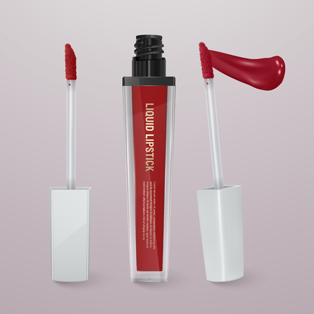 Realistic, red liquid lipstick with stroke of lipstick. 3d illustration, trendy cosmetic design for advertisement Çizim
