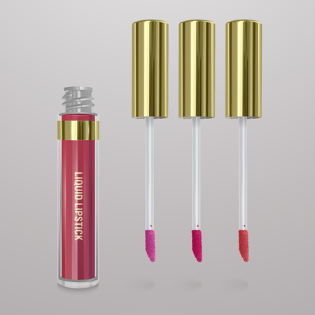 Realistic, light pink liquid lipstick. 3d illustration, trendy cosmetic design for advertisement